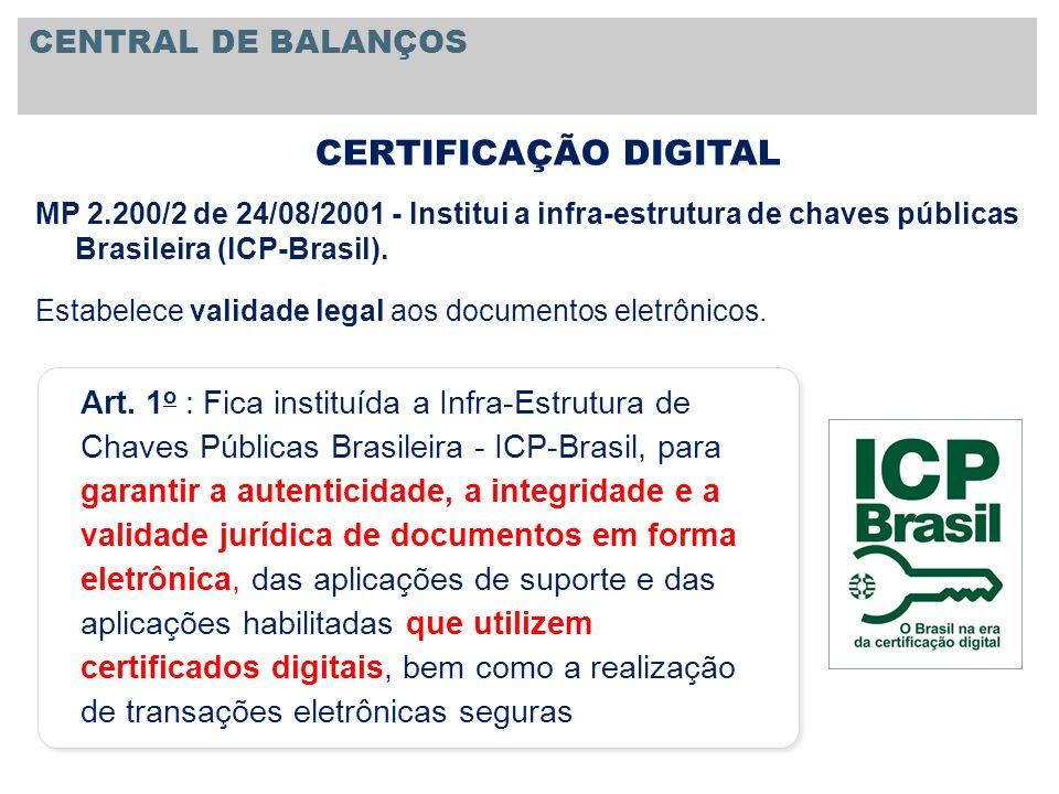 CERTIFICAÇÃO DIGITAL CENTRAL DE BALANÇOS