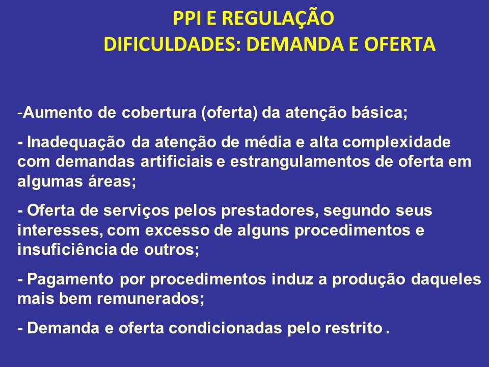 PPI E REGULAÇÃO DIFICULDADES: DEMANDA E OFERTA