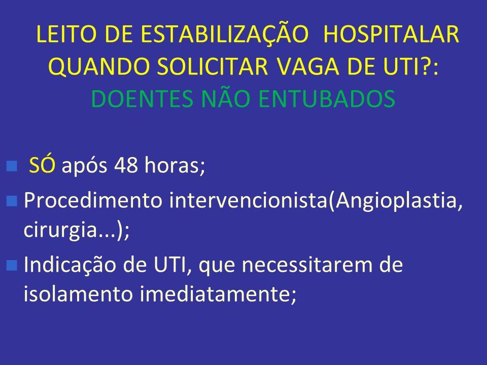 LEITO DE ESTABILIZAÇÃO HOSPITALAR QUANDO SOLICITAR VAGA DE UTI