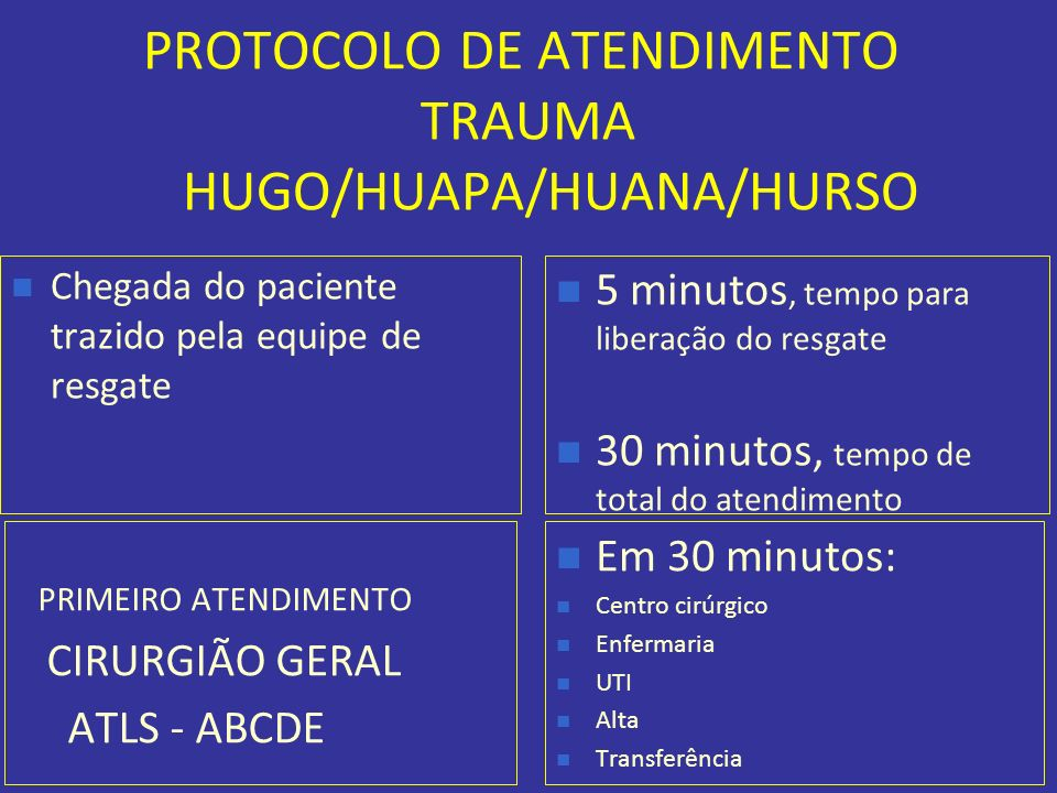 PROTOCOLO DE ATENDIMENTO TRAUMA HUGO/HUAPA/HUANA/HURSO