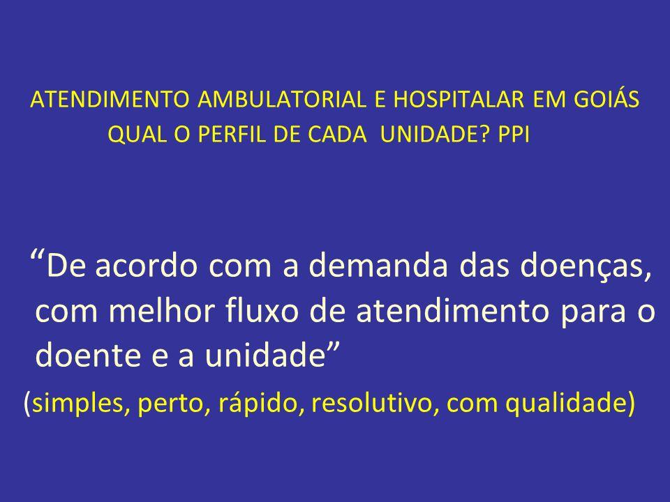 ATENDIMENTO AMBULATORIAL E HOSPITALAR EM GOIÁS QUAL O PERFIL DE CADA UNIDADE PPI