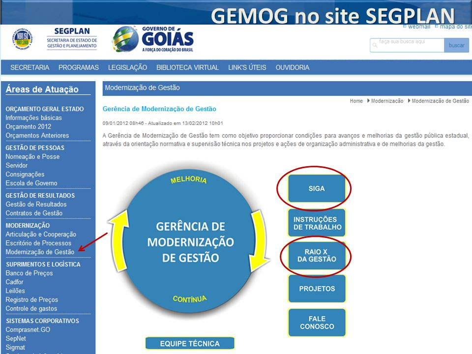 GEMOG no site SEGPLAN