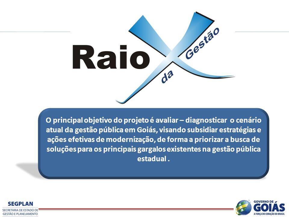 O principal objetivo do projeto é avaliar – diagnosticar o cenário atual da gestão pública em Goiás, visando subsidiar estratégias e ações efetivas de modernização, de forma a priorizar a busca de soluções para os principais gargalos existentes na gestão pública estadual .