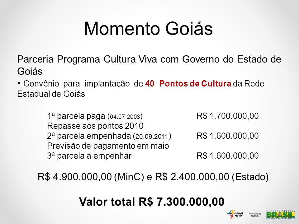 Momento Goiás Valor total R$ 7.300.000,00