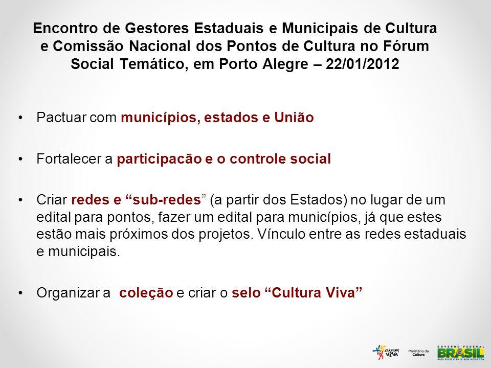 Encontro de Gestores Estaduais e Municipais de Cultura e Comissão Nacional dos Pontos de Cultura no Fórum Social Temático, em Porto Alegre – 22/01/2012