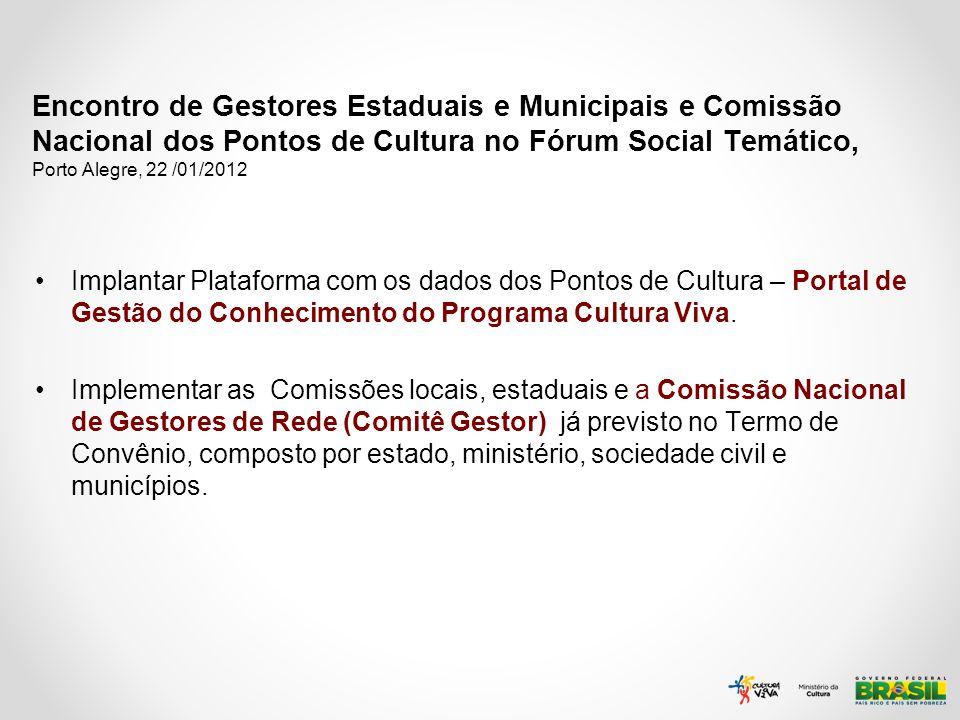 Encontro de Gestores Estaduais e Municipais e Comissão Nacional dos Pontos de Cultura no Fórum Social Temático, Porto Alegre, 22 /01/2012