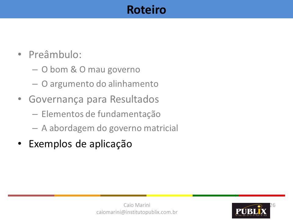 Roteiro Preâmbulo: Governança para Resultados Exemplos de aplicação