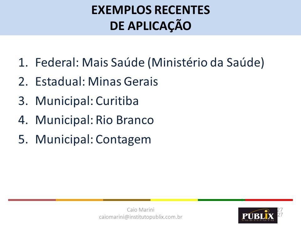 EXEMPLOS RECENTESDE APLICAÇÃO. Federal: Mais Saúde (Ministério da Saúde) Estadual: Minas Gerais. Municipal: Curitiba.