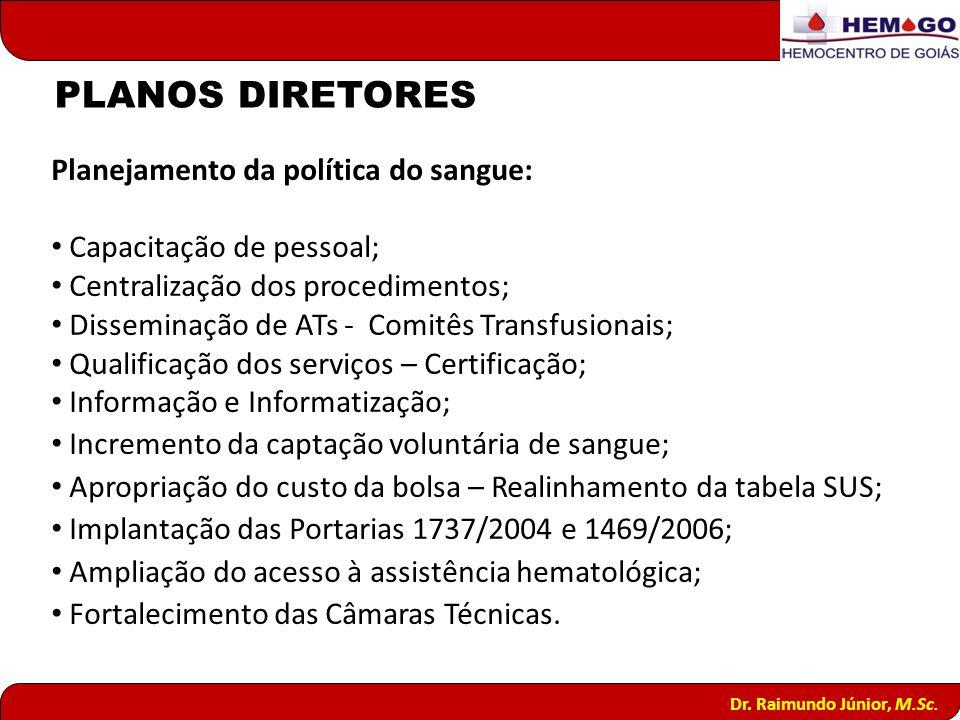 PLANOS DIRETORES Planejamento da política do sangue: