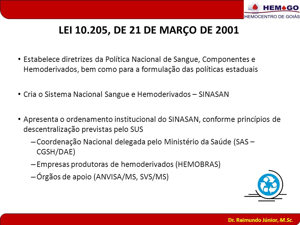 LEI 10.205, DE 21 DE MARÇO DE 2001