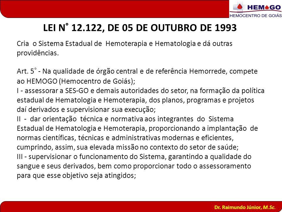 LEI N° 12.122, DE 05 DE OUTUBRO DE 1993 Cria o Sistema Estadual de Hemoterapia e Hematologia e dá outras providências.