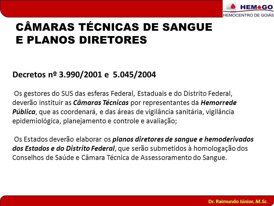 CÂMARAS TÉCNICAS DE SANGUE E PLANOS DIRETORES