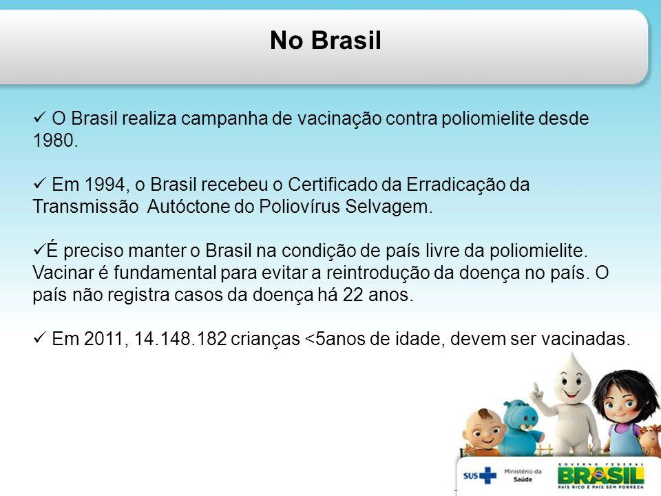 No Brasil O Brasil realiza campanha de vacinação contra poliomielite desde 1980.