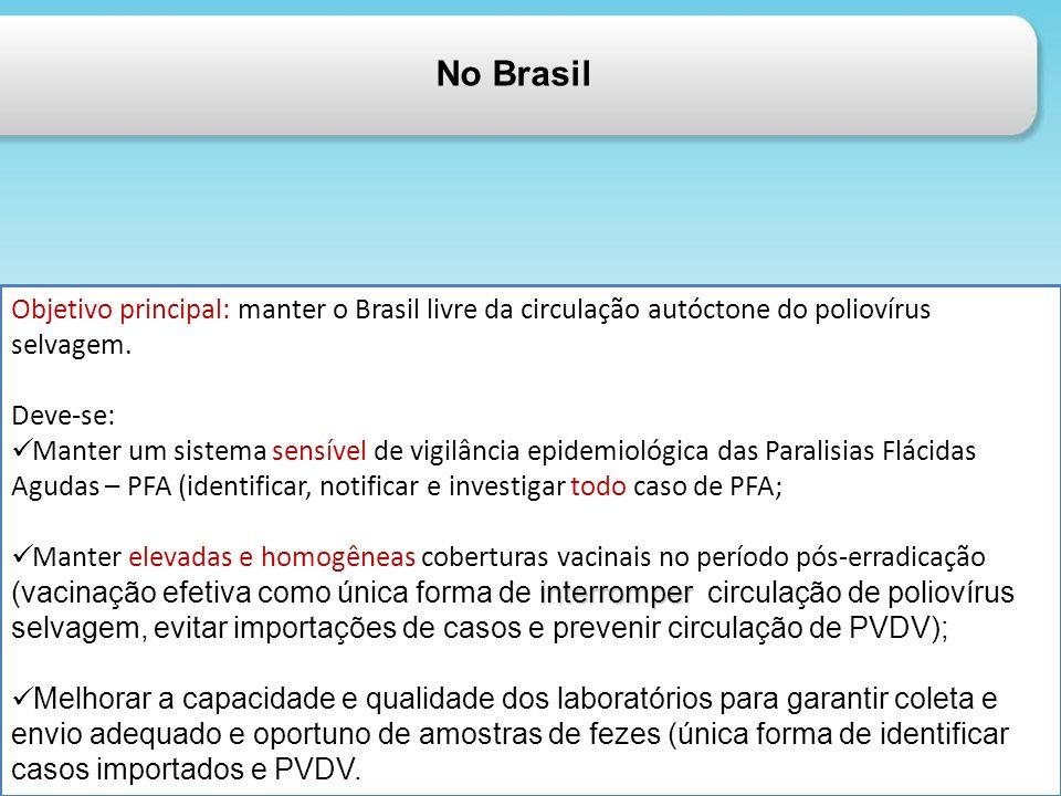 No Brasil Objetivo principal: manter o Brasil livre da circulação autóctone do poliovírus selvagem.