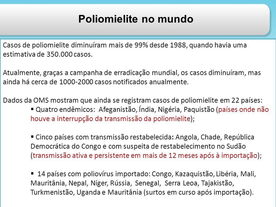 Poliomielite no mundo Casos de poliomielite diminuíram mais de 99% desde 1988, quando havia uma estimativa de 350.000 casos.