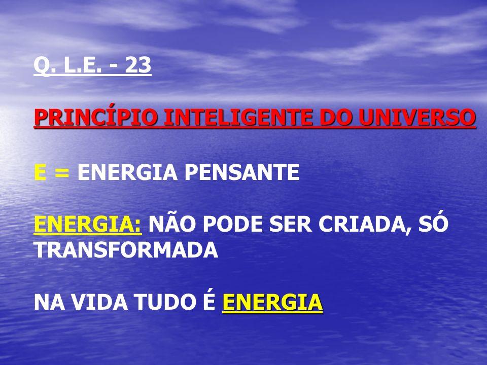 Q. L.E. - 23 PRINCÍPIO INTELIGENTE DO UNIVERSO. E = ENERGIA PENSANTE. ENERGIA: NÃO PODE SER CRIADA, SÓ TRANSFORMADA.