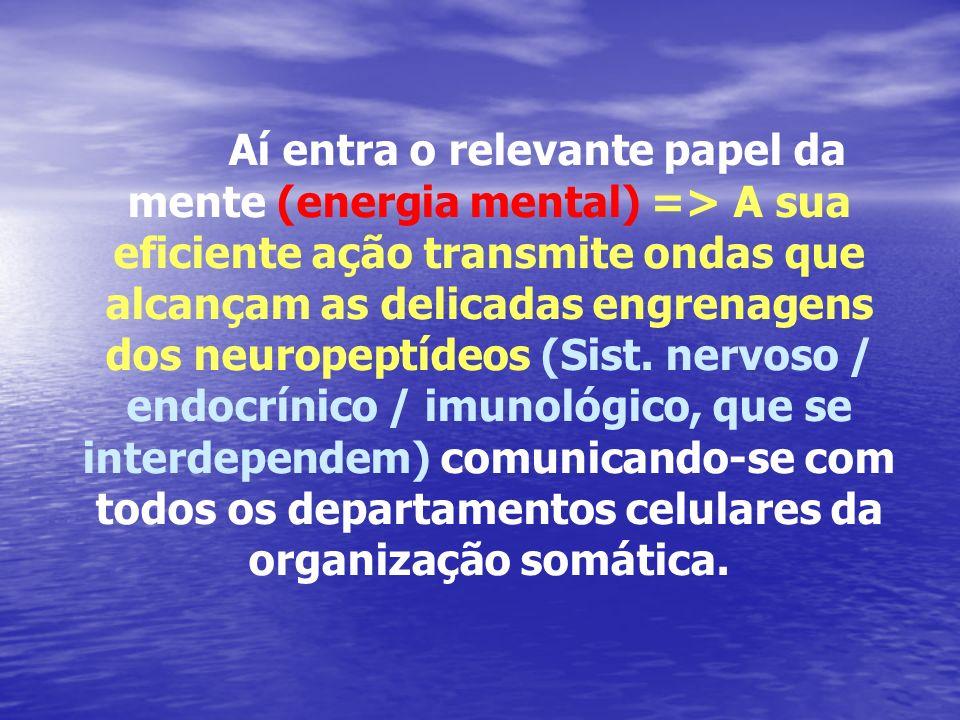 Aí entra o relevante papel da mente (energia mental) => A sua eficiente ação transmite ondas que alcançam as delicadas engrenagens dos neuropeptídeos (Sist.
