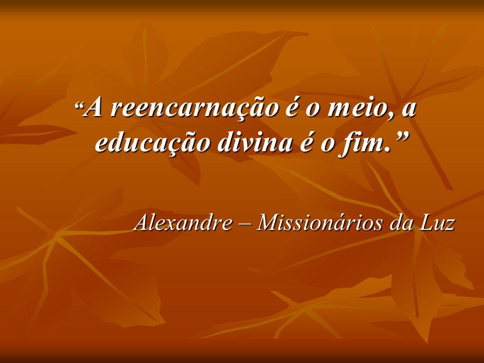 A reencarnação é o meio, a educação divina é o fim.