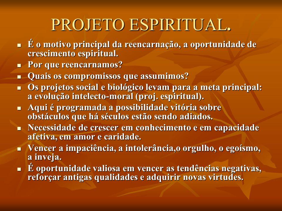 PROJETO ESPIRITUAL. É o motivo principal da reencarnação, a oportunidade de crescimento espiritual.
