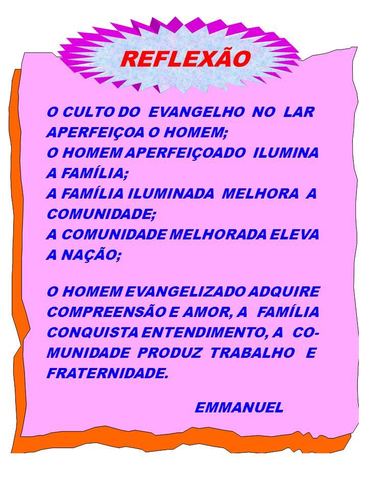 REFLEXÃO O CULTO DO EVANGELHO NO LAR APERFEIÇOA O HOMEM;