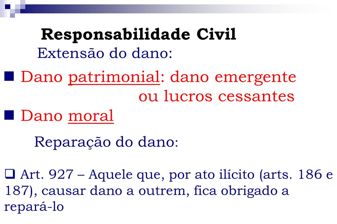 Dano patrimonial: dano emergente ou lucros cessantes Dano moral