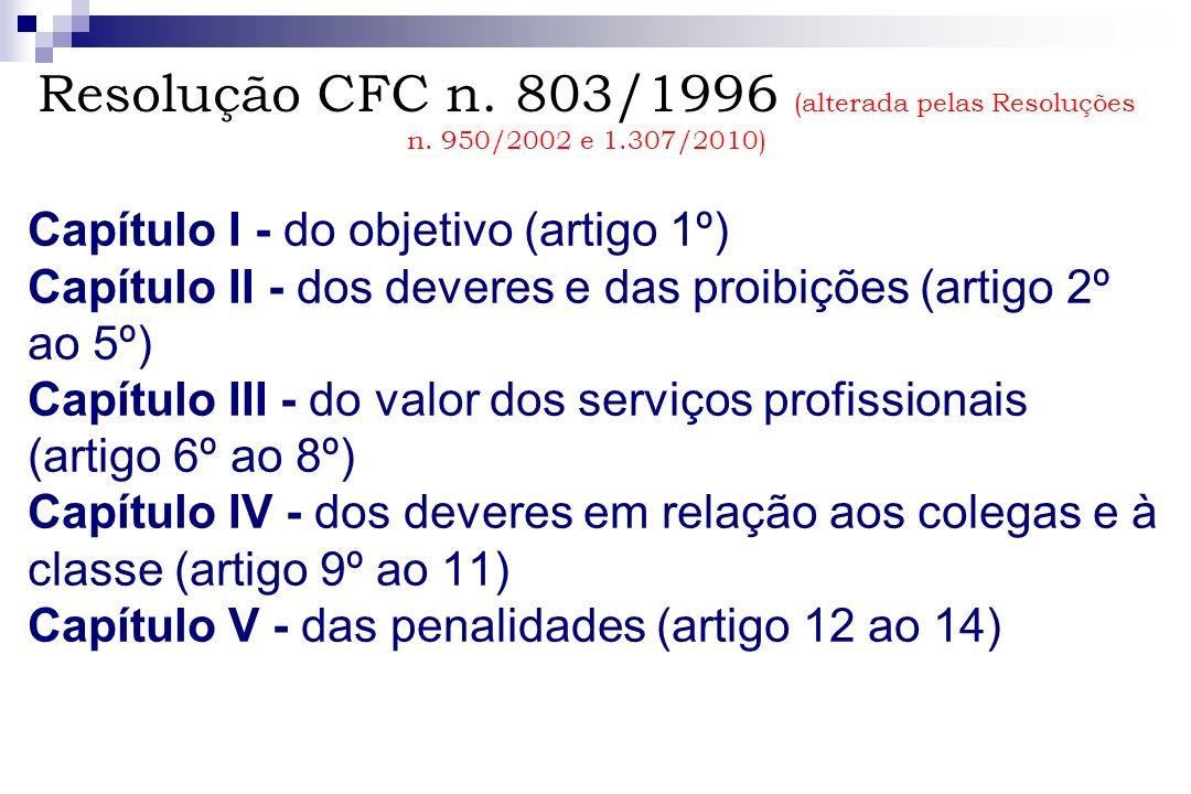Resolução CFC n. 803/1996 (alterada pelas Resoluções n. 950/2002 e 1