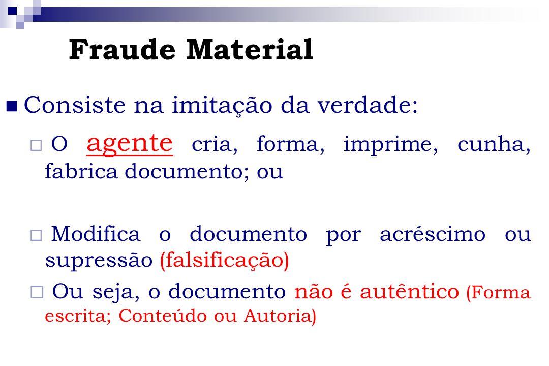 Fraude Material Consiste na imitação da verdade:
