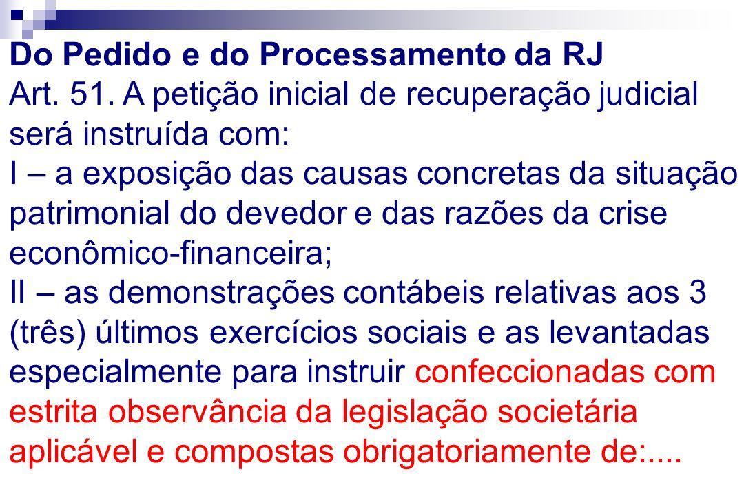Do Pedido e do Processamento da RJ