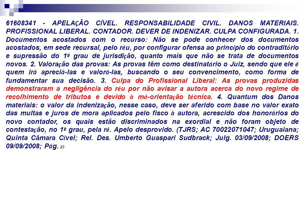 61608341 - APELAÇÃO CÍVEL. RESPONSABILIDADE CIVIL. DANOS MATERIAIS