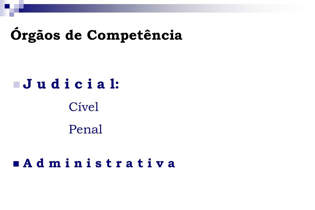 Órgãos de Competência J u d i c i a l: Cível Penal