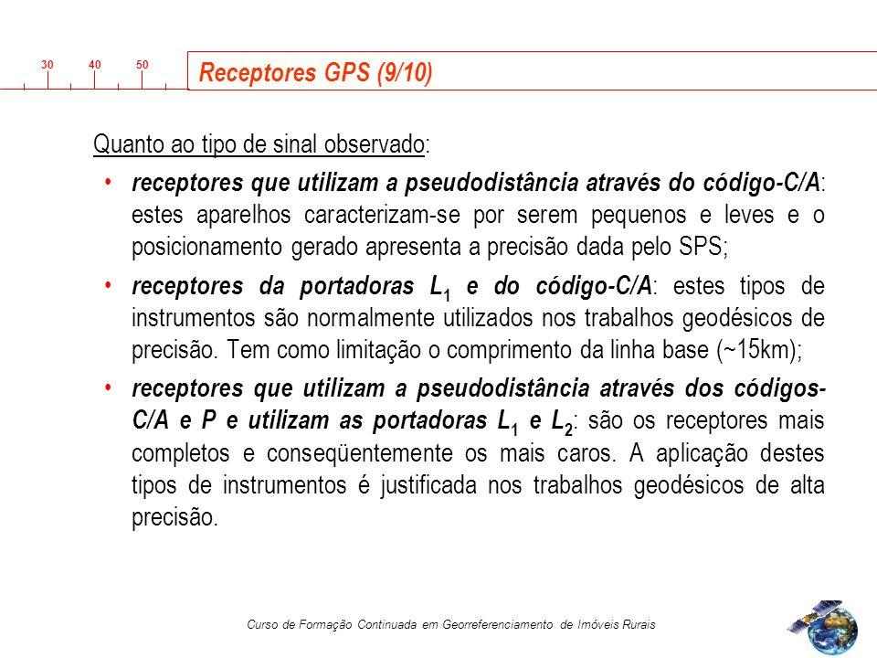 Receptores GPS (9/10) Quanto ao tipo de sinal observado:
