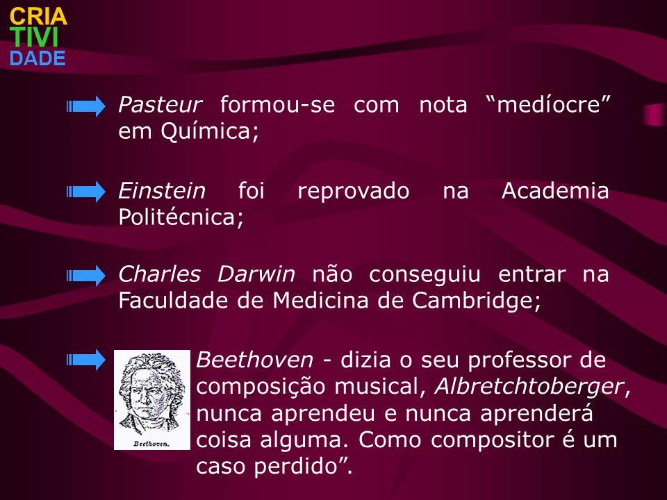 TIVI CRIA Pasteur formou-se com nota medíocre em Química;