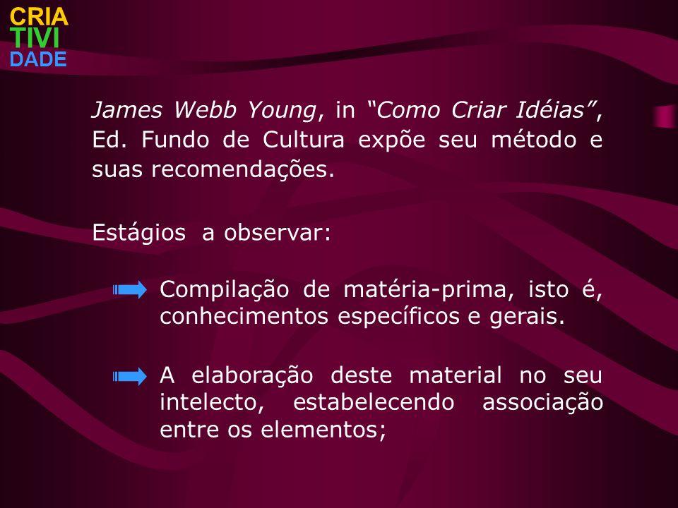 CRIA TIVI. DADE. James Webb Young, in Como Criar Idéias , Ed. Fundo de Cultura expõe seu método e suas recomendações.