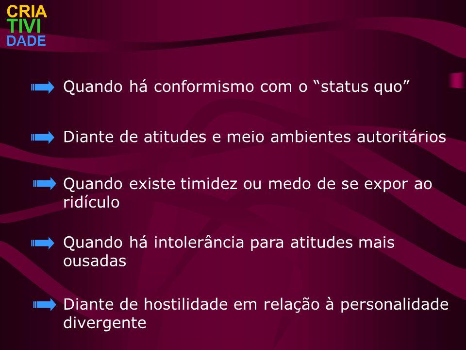 TIVI CRIA Quando há conformismo com o status quo