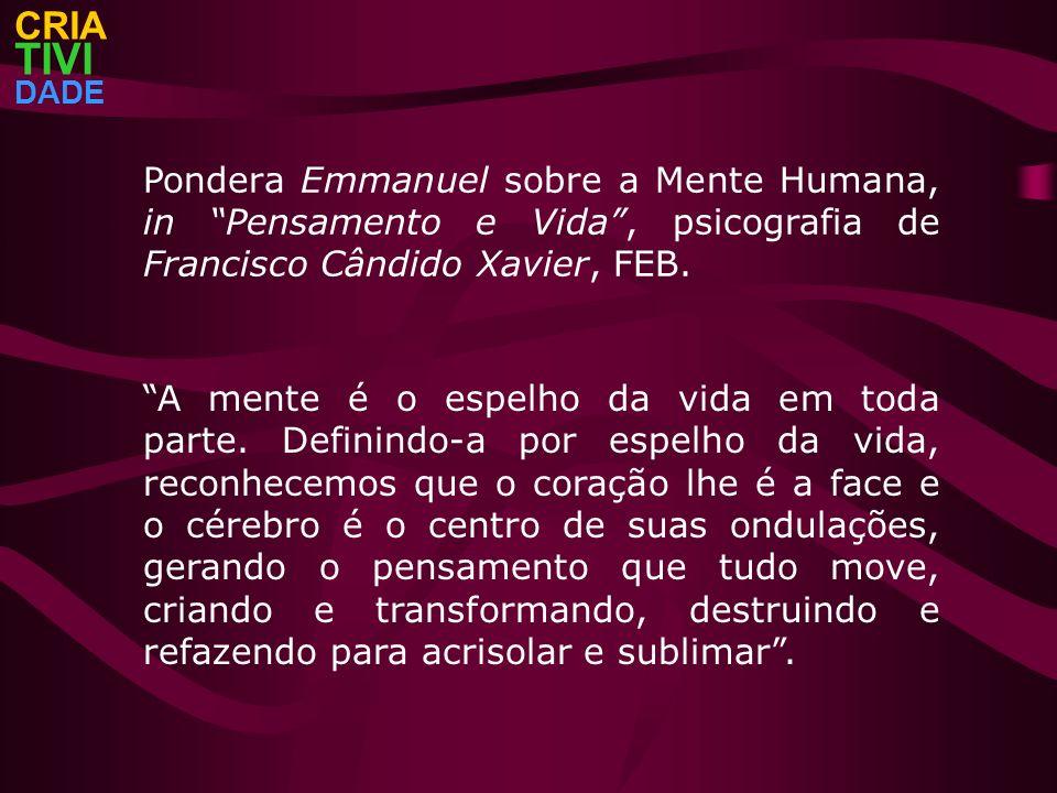 CRIATIVI. DADE. Pondera Emmanuel sobre a Mente Humana, in Pensamento e Vida , psicografia de Francisco Cândido Xavier, FEB.