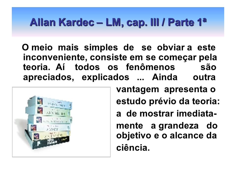 Allan Kardec – LM, cap. III / Parte 1ª