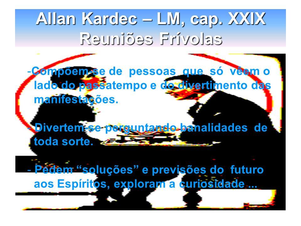 Allan Kardec – LM, cap. XXIX Reuniões Frívolas