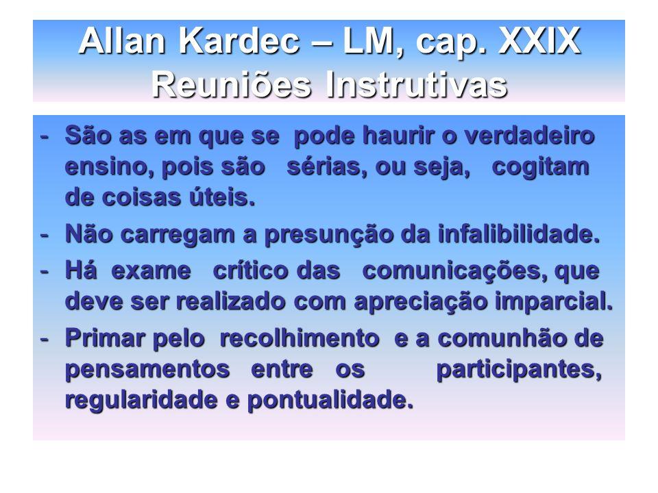 Allan Kardec – LM, cap. XXIX Reuniões Instrutivas