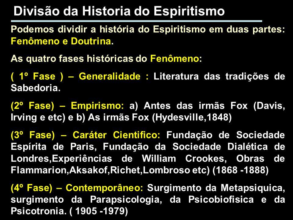 Divisão da Historia do Espiritismo