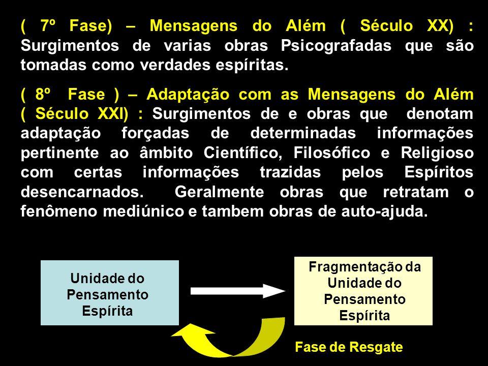 ( 7º Fase) – Mensagens do Além ( Século XX) : Surgimentos de varias obras Psicografadas que são tomadas como verdades espíritas.