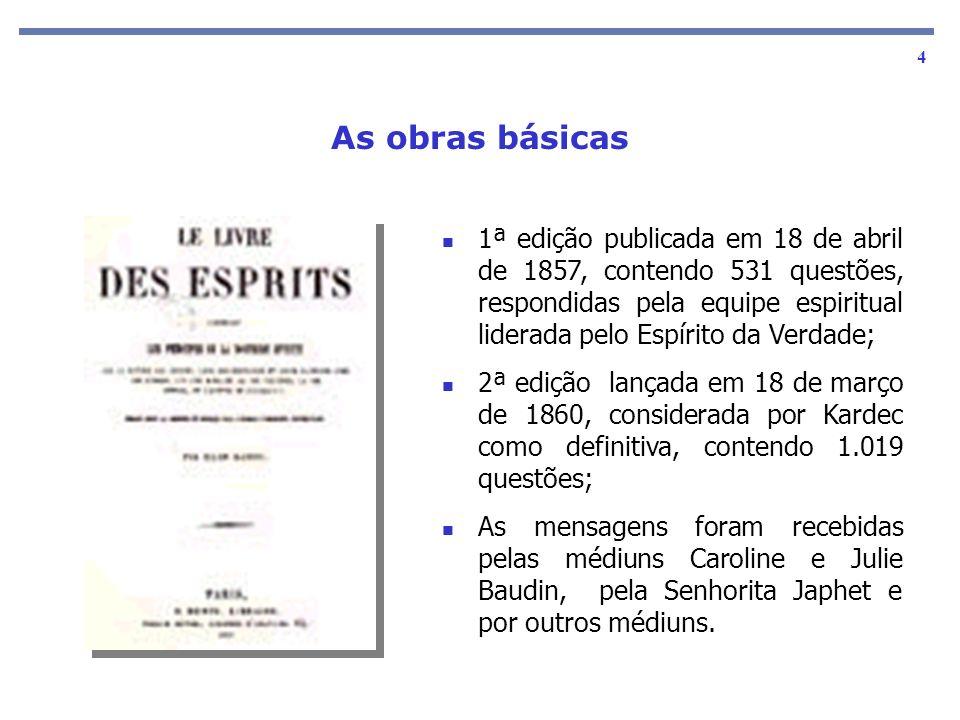 1ª edição publicada em 18 de abril de 1857, contendo 531 questões, respondidas pela equipe espiritual liderada pelo Espírito da Verdade;
