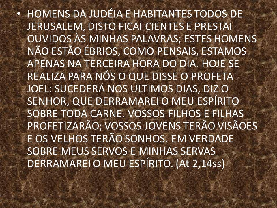 HOMENS DA JUDÉIA E HABITANTES TODOS DE JERUSALEM, DISTO FICAI CIENTES E PRESTAI OUVIDOS ÀS MINHAS PALAVRAS; ESTES HOMENS NÃO ESTÃO ÉBRIOS, COMO PENSAIS, ESTAMOS APENAS NA TERCEIRA HORA DO DIA.