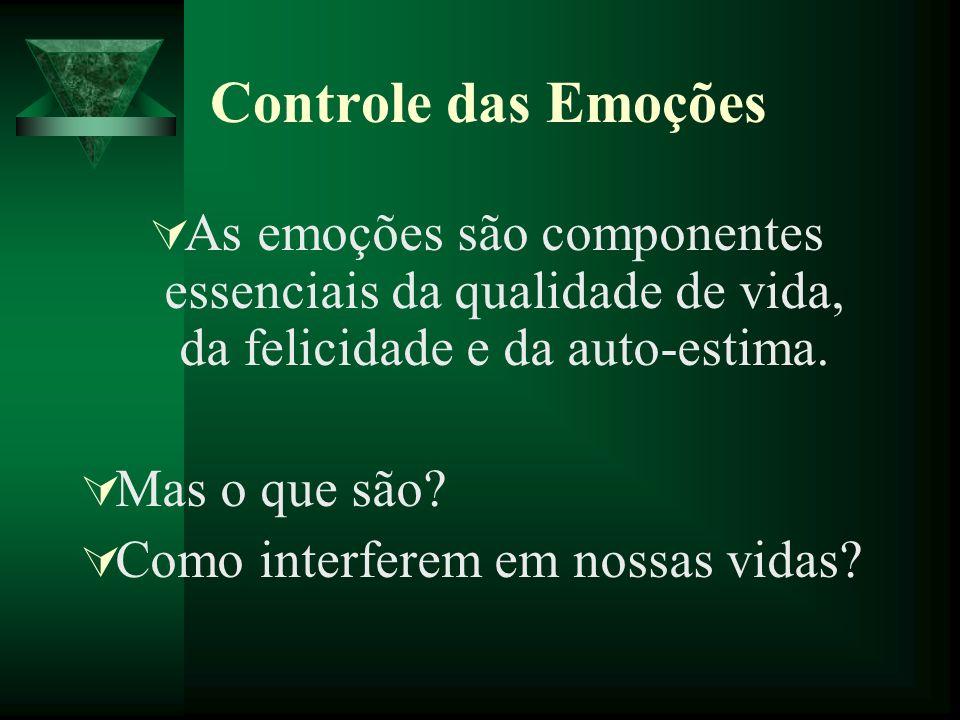 Controle das EmoçõesAs emoções são componentes essenciais da qualidade de vida, da felicidade e da auto-estima.