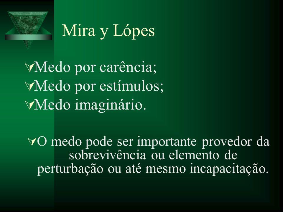 Mira y Lópes Medo por carência; Medo por estímulos; Medo imaginário.