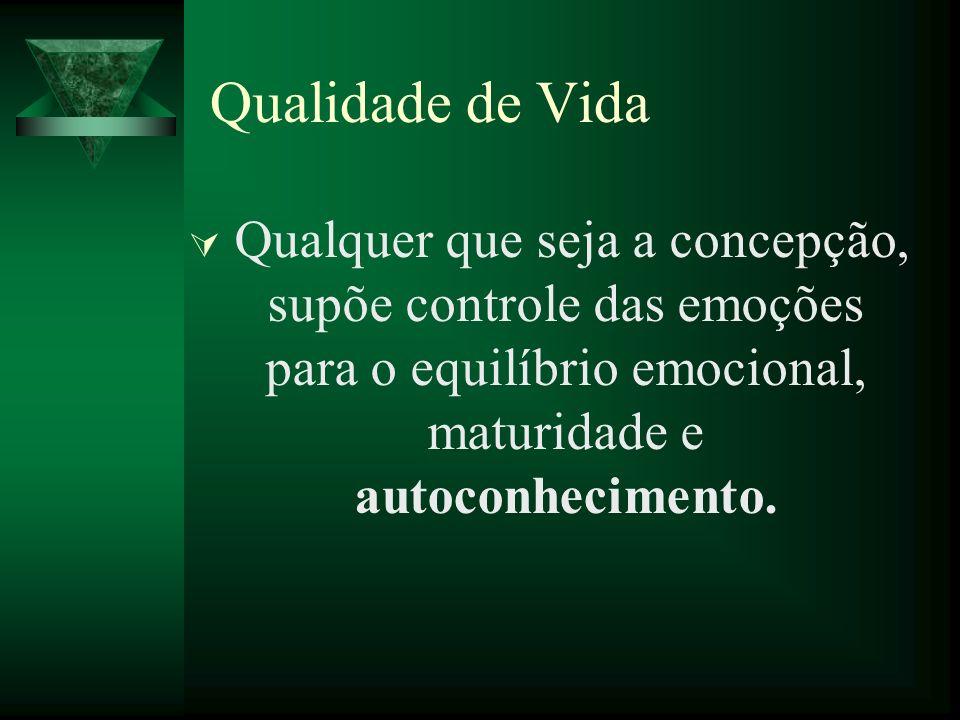 Qualidade de VidaQualquer que seja a concepção, supõe controle das emoções para o equilíbrio emocional, maturidade e autoconhecimento.