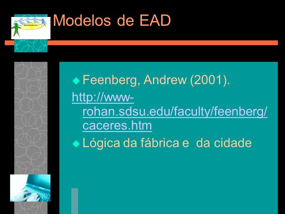 Modelos de EAD Feenberg, Andrew (2001).