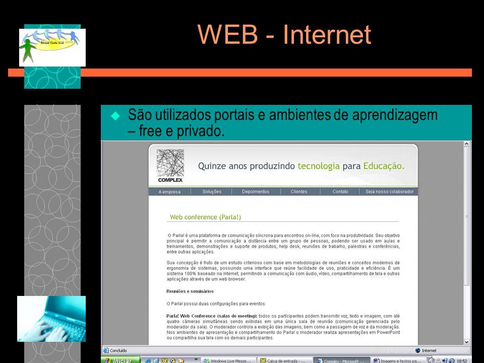 WEB - Internet São utilizados portais e ambientes de aprendizagem – free e privado. TELEDUC. MOODLE.