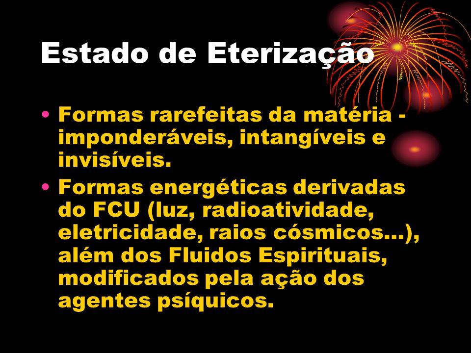 Estado de Eterização Formas rarefeitas da matéria - imponderáveis, intangíveis e invisíveis.