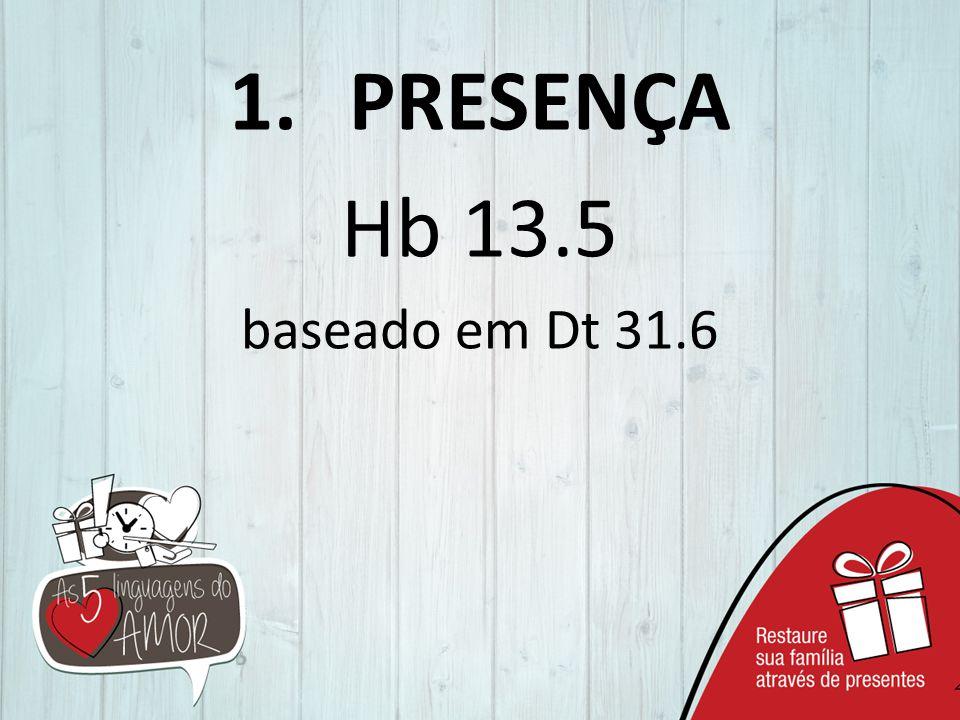 PRESENÇA Hb 13.5 baseado em Dt 31.6