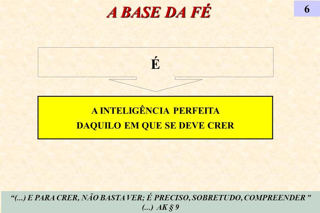 A INTELIGÊNCIA PERFEITA DAQUILO EM QUE SE DEVE CRER